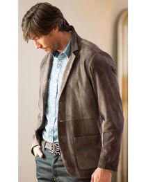 Ryan Michael Men's Grey Suede Leather Blazer , , hi-res