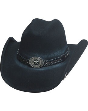 Bullhide Hats Men's Cowboy Collection Stray Bullet Wool Felt Western Hat, Black, hi-res