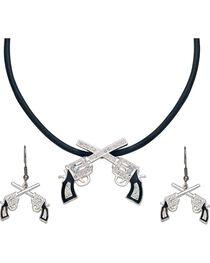 Montana Silversmiths Women's Crossed Pistols Jewelry Set, , hi-res