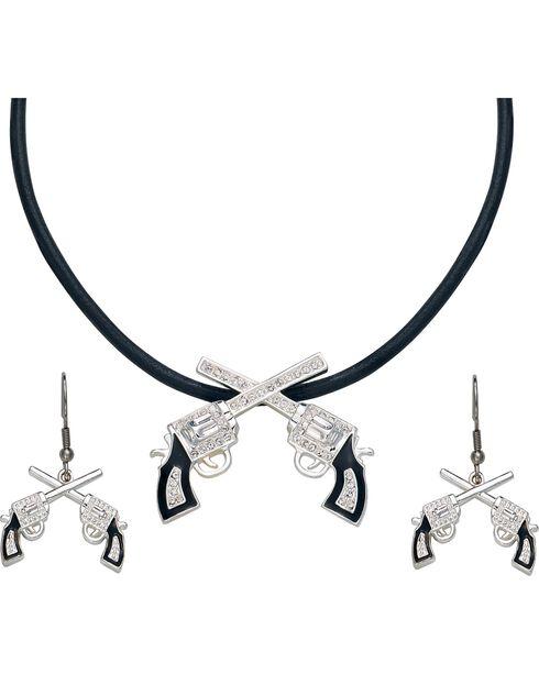 Montana Silversmiths Women's Crossed Pistols Jewelry Set, Silver, hi-res