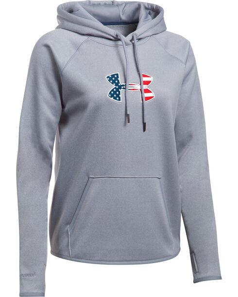 Under Armour Women's Grey Big Flag Logo Tactical Hoodie, Grey, hi-res