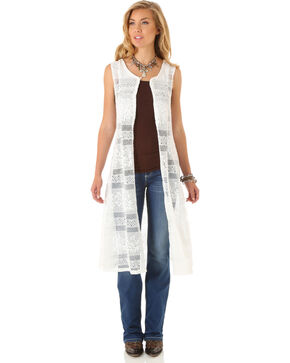 Wrangler Women's Sleeveless Crochet Fashion Duster, Cream, hi-res