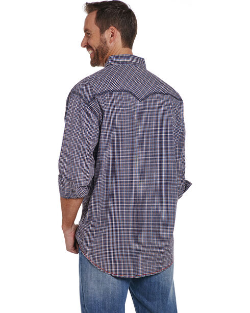 Cowboy Up Men's Blue Heavy Stitched Plaid Shirt , Blue, hi-res
