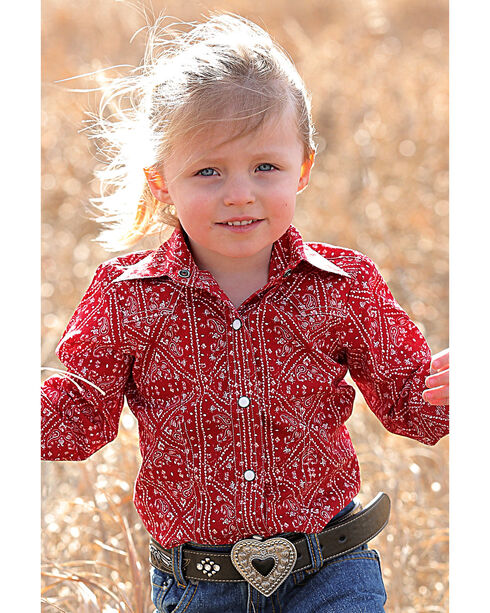Cruel Girl Infant/Toddler Girls' Red Bandanna Print Western Shirt , Red, hi-res