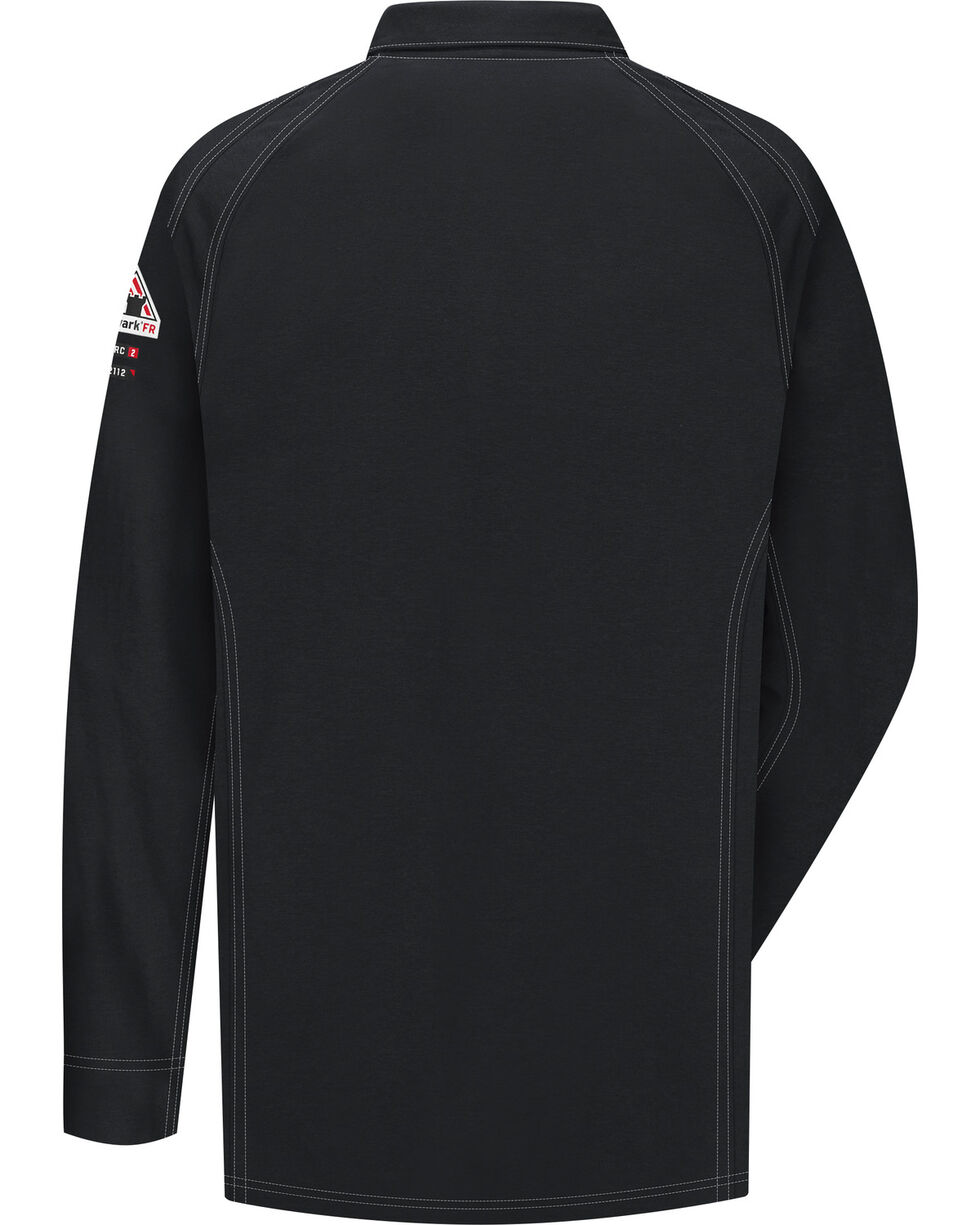 Bulwark Men's Black iQ Series Flame Resistant Long Sleeve Polo - Big & Tall, Black, hi-res