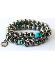 West & Co. Women's Burnished Silver Melon Bead Turquoise Bracelet, , hi-res