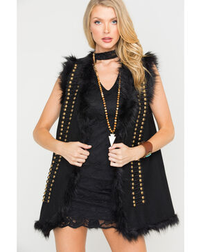 MM Vintage Women's Black Majorette Faux Fur Vest, Black, hi-res