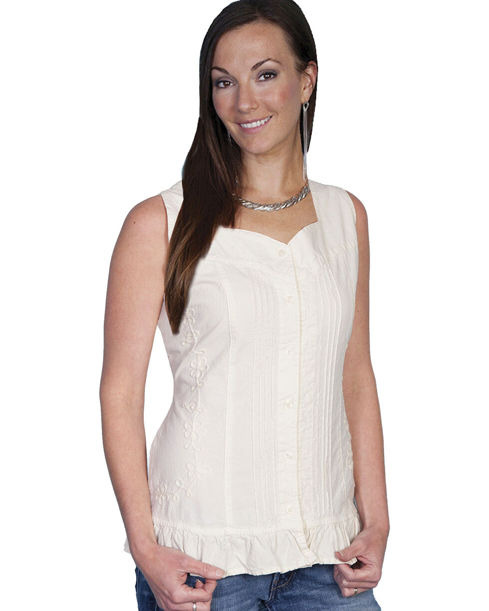 Scully Women's Soutache Pleated Tank Top, Natural, hi-res