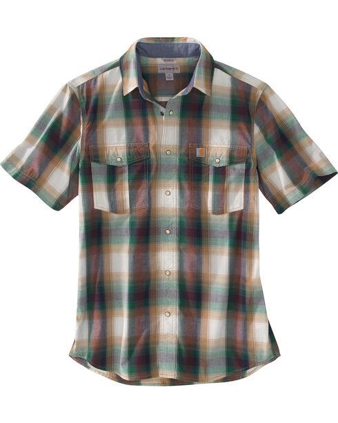 Carhartt Men's Plaid Printed Short Sleeve Shirt, Hunter Green, hi-res