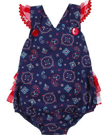 Wrangler Infant Girls' Navy Sleeveless Ruffled Edge Romper, , hi-res