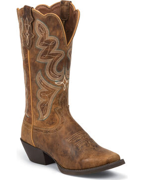 Justin Women's Stampede Western Boots, Coffee, hi-res