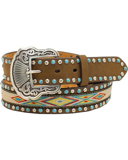 Nocona Women's Aztec Embellished Belt, Med Brown, hi-res