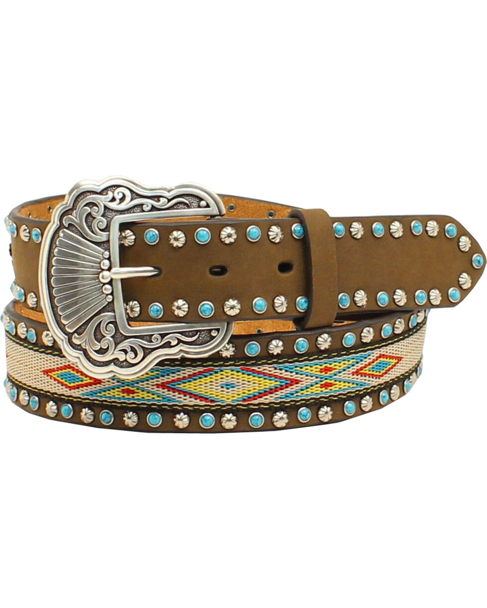 Nocona Women's Aztec Embellished Belt, Med Brown, hi-res