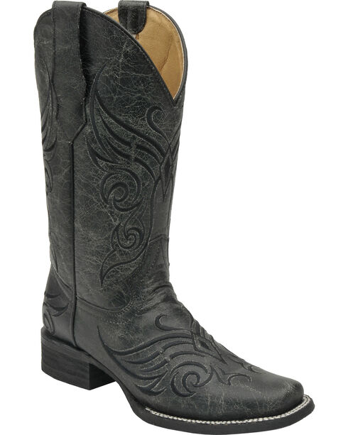 Circle G Women's Crackle Western Boots, Black, hi-res