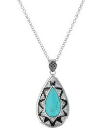 Montana Silversmiths Women's Silver Southern Chevron Teardrop Necklace , , hi-res