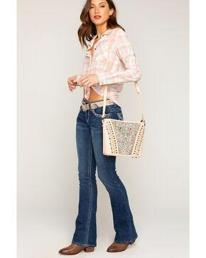 Shyanne Women's Tooled Leather Inlay Crossbody Bag, Beige/khaki, hi-res