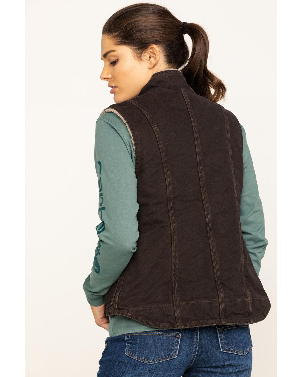 Carhartt Women's Sandstone Mock- Neck Sherpa Lined Vest, Brown, hi-res