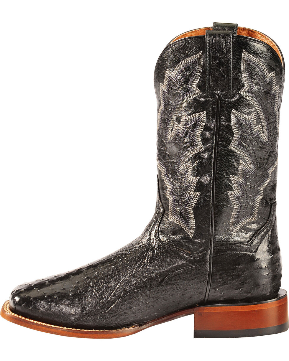 Dan Post Black Full Quill Ostrich Cowboy Boots - Square Toe, Black, hi-res