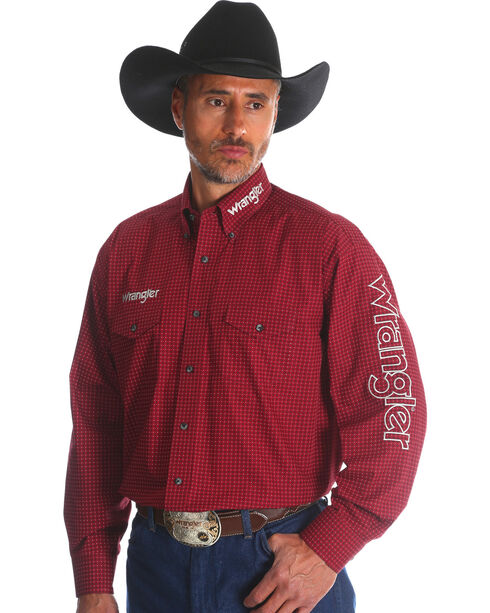 Wrangler Men's Red Western Logo Long Sleeve Shirt - Tall, Red, hi-res