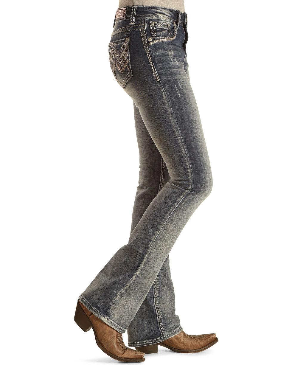 Grace in LA Women's Medium Wash Abstract Boot Cut Jeans - Plus Size, Indigo, hi-res