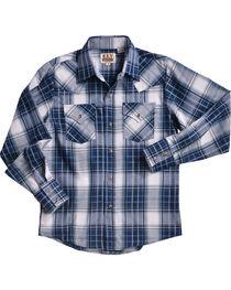 Ely Cattleman Boys' Blue Textured Plaid Snap Shirt, , hi-res