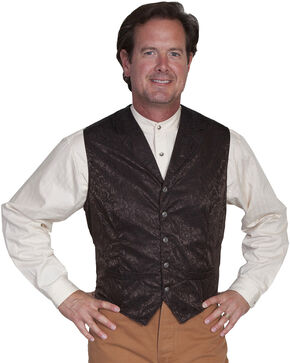 Scully Men's Silk Vest, Chocolate, hi-res