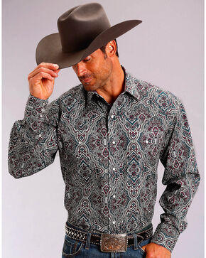 Stetson Men's Highland Paisley Long Sleeve Snap Shirt, Wine, hi-res