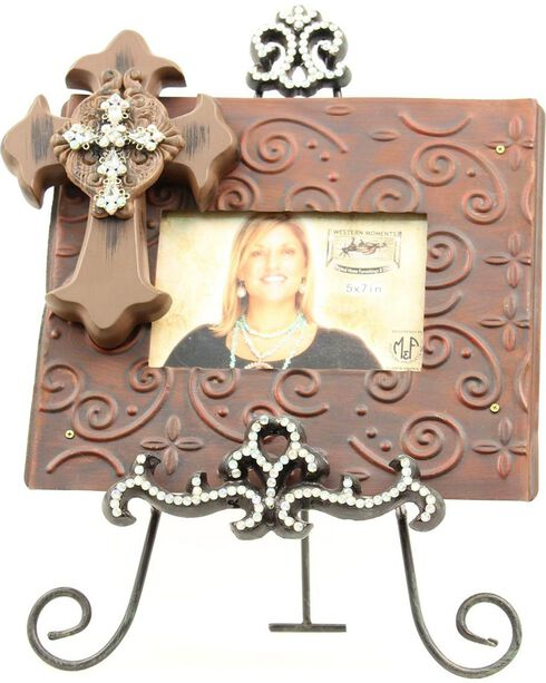 """Western Moments Scrolling Cross Photo Frame with Rhinestone Easel  - 5"""" x 7"""", Black, hi-res"""
