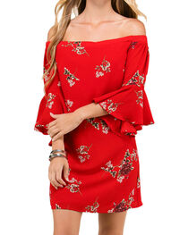 Polagram Women's Red Floral Off The Shoulder Dress, , hi-res
