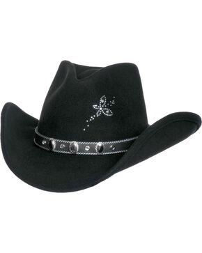 Master Hatters Women's Black Flutterby Crushable Wool Hat, Black, hi-res