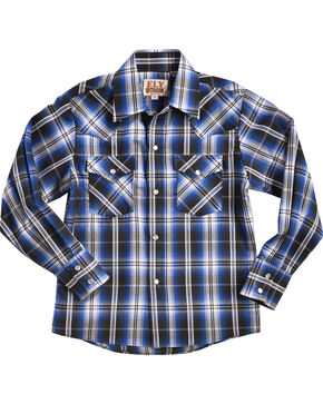 Ely Cattleman Boys' Blue Textured Plaid Western Shirt , Black, hi-res