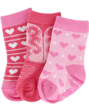 Lil' Boot Barn® Infant Girls' Heart Sock Set, Multi, hi-res