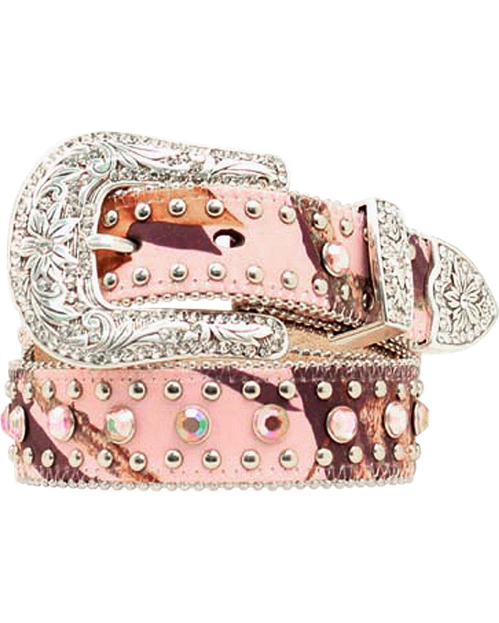 Nocona Belt Co Girl's Mossy Oak Belt, Pink, hi-res