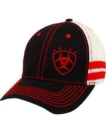 Ariat Men's Black with Red Offset Baseball Cap , , hi-res