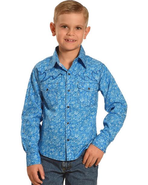 Cowboy Hardware Boys' Blue Range Paisley Print Shirt , Blue, hi-res