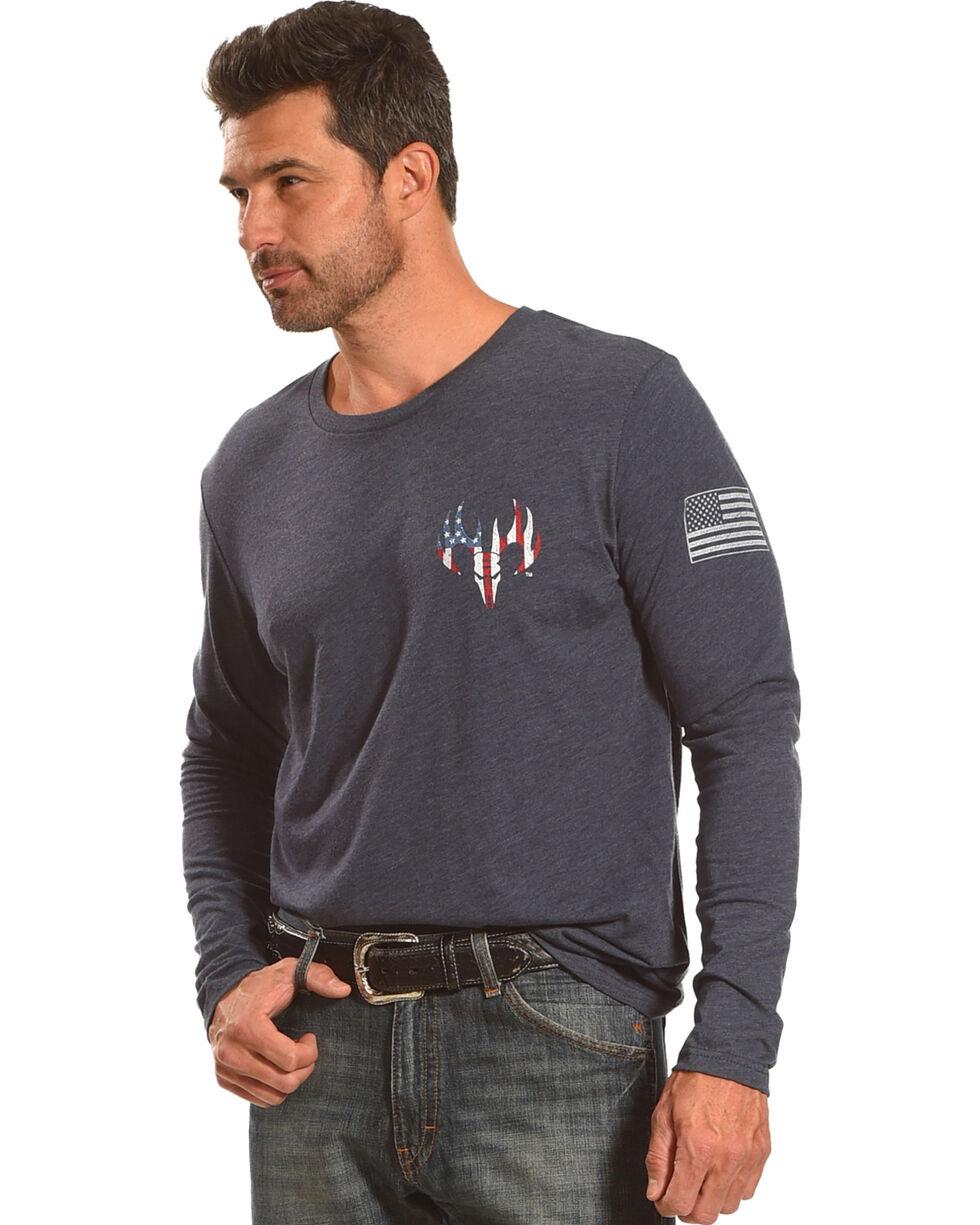 Buck Wear Men's Navy Stick To My Guns Long Sleeve Shirt , Navy, hi-res