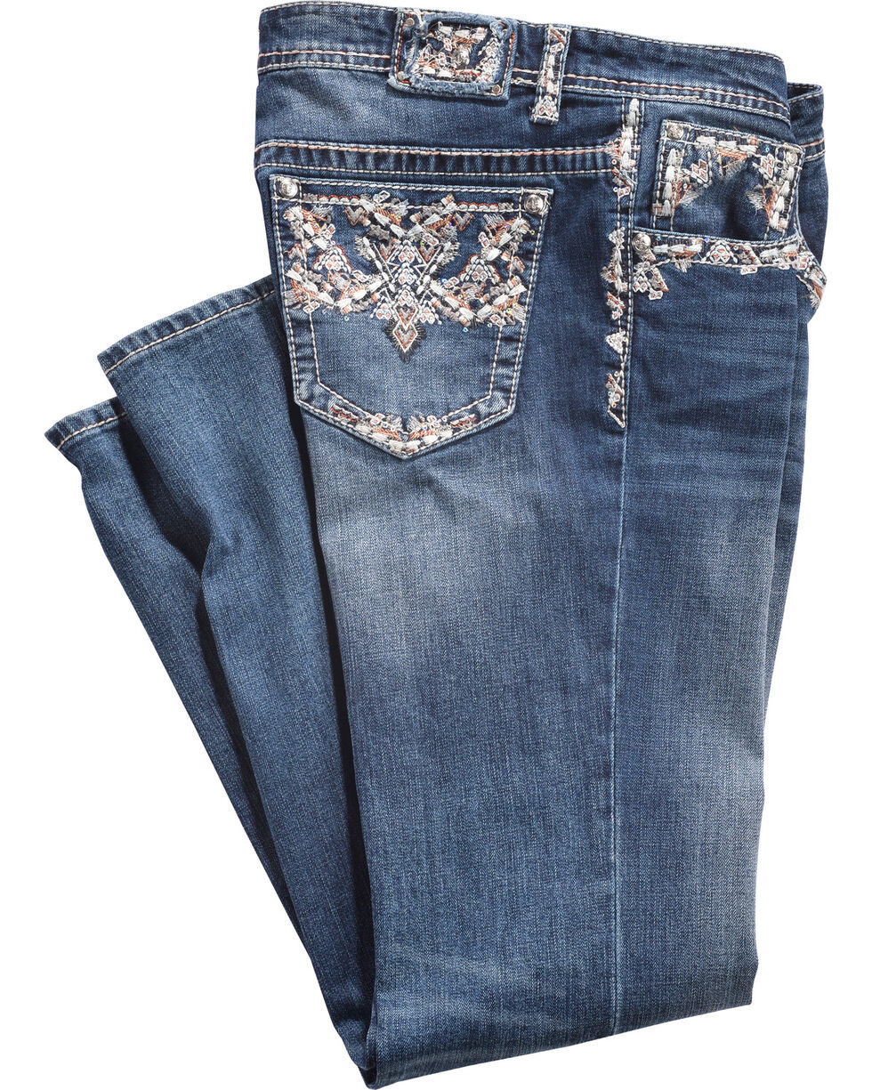 Grace in LA Women's Pocket Stitched Straight Leg Jeans - Plus Size, Indigo, hi-res