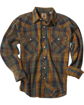 Resistol Men's Gold Jesup Plaid Long Sleeve Shirt , Gold, hi-res