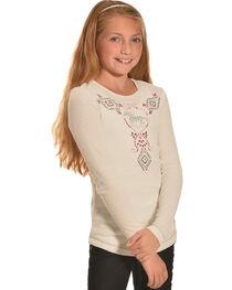 Cowgirl Hardware Girls' Cream Aztec Horse Waffle Shirt , , hi-res