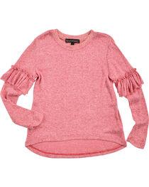 Derek Heart Girls' Pink Ruffle Detail Long Sleeve Sweater, , hi-res