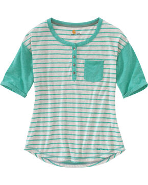 Carhartt Women's Spearmint Reagan Henley Shirt , Green, hi-res