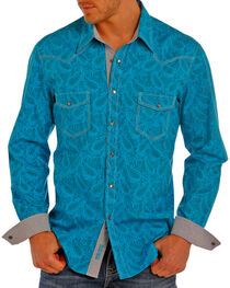 Rock & Roll Cowboy Men's Paisley Print Long Sleeve Western Snap Shirt, , hi-res