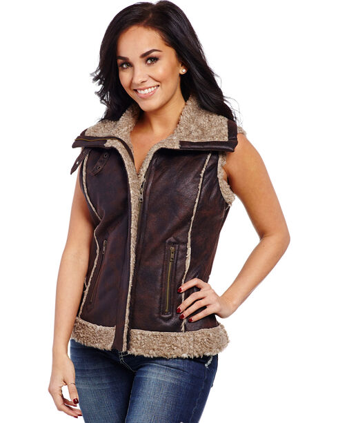Cripple Creek Women's Sherpa Lined Aviator Vest, Chocolate, hi-res