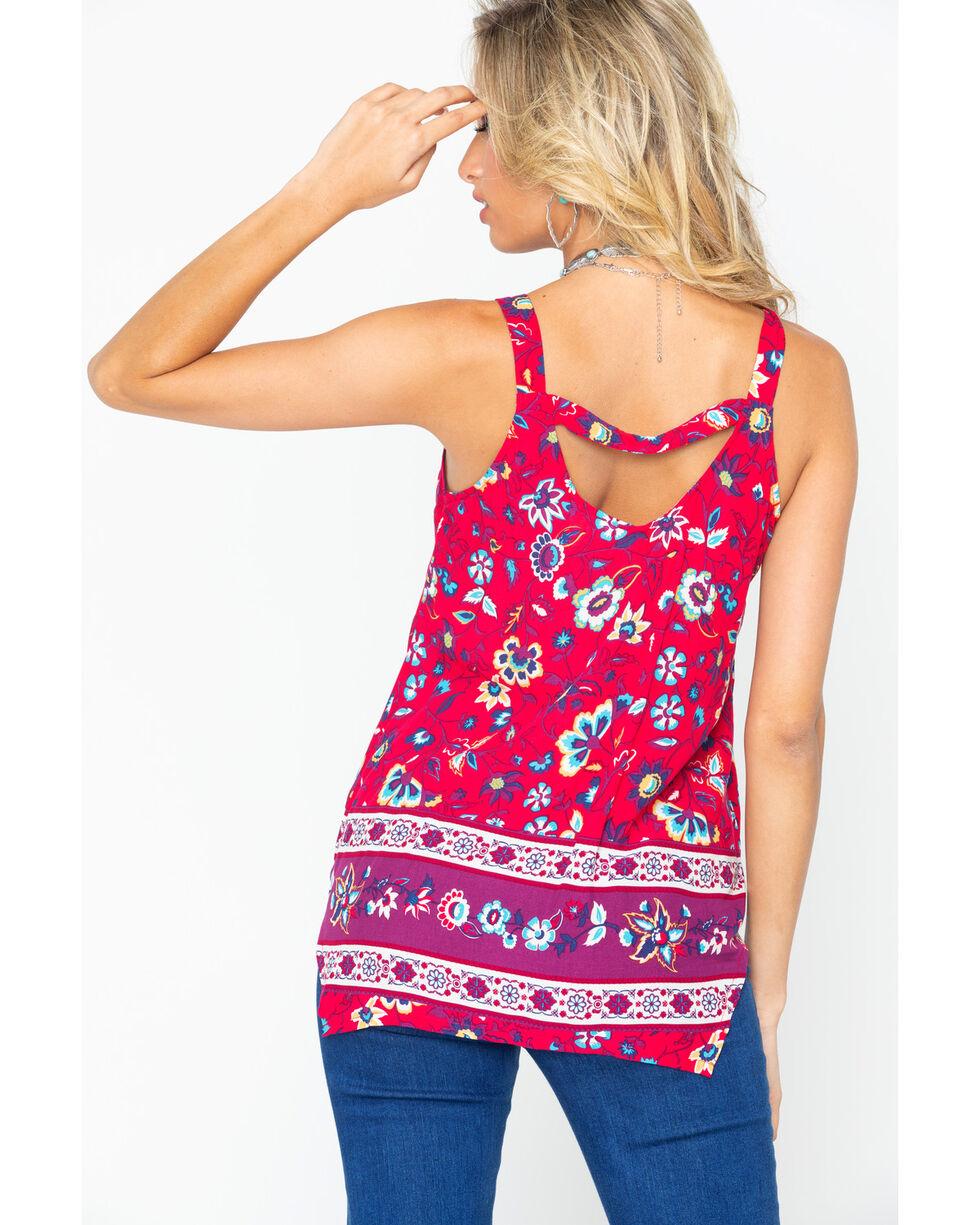 Shyanne Women's Floral Lattice Tank Top, Red, hi-res