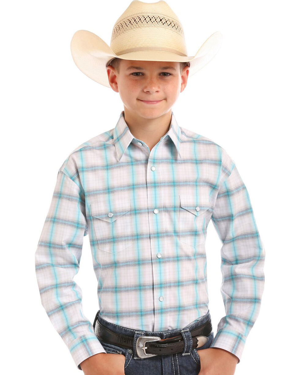 Rough Stock by Panhandle Boys' Holden Vintage Plaid Snap Shirt, Turquoise, hi-res
