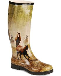 Smoky Mountain Women's Running Horses Rubber Boots, , hi-res