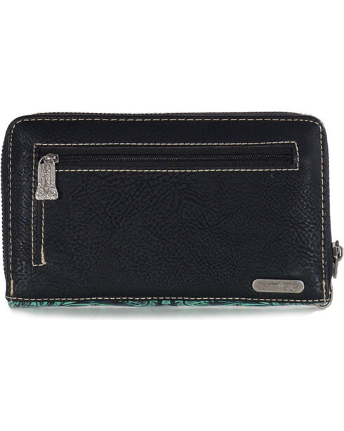Trinity Ranch Women's Floral Tooled Wallet, Black/turquoise, hi-res