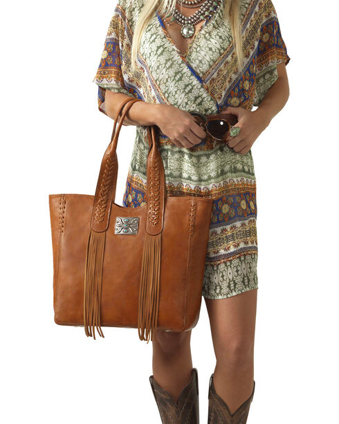 American West Golden Tan Mojave Canyon Large Zip Top Tote , Golden Tan, hi-res