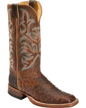 Justin Men's Full Quill Ostrich Boots, Saddle Brown, hi-res