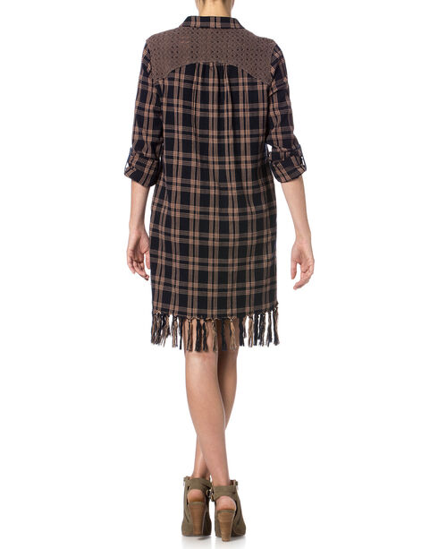 Miss Me Plaid Fringe Dress, Navy, hi-res